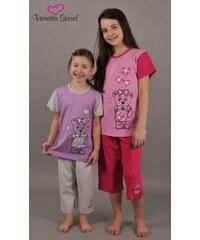 Vienetta Secret Dětské pyžamo kapri Méďa v šatech - šedá/azurová
