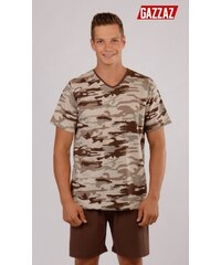 Gazzaz Pánské pyžamo šortky Army - hnědá