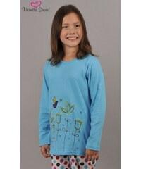 Vienetta Kids Dětské pyžamo dlouhé Květiny - azurová