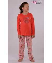 Vienetta Kids Dětské pyžamo dlouhé Medvěd Gift - korálová