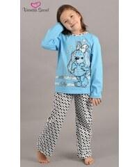 Vienetta Kids Dětské pyžamo dlouhé Pes v šatech - tyrkysová