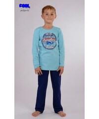 Vienetta Secret Dětské pyžamo dlouhé zateplené Letadlo - světle modrá