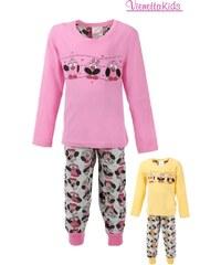 Vienetta Kids Dětské pyžamo dlouhé Velké sovy - žlutá
