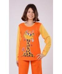 Vienetta Kids Dětské pyžamo dlouhé Žirafa - oranžová