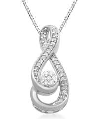 KLENOTA Diamantový přívěsek ze stříbra