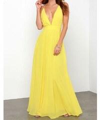 Damson Žluté dlouhé šaty