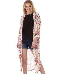 Jacqueline De Yong Damen Chaos Flowers Kimono Cloud Dancer Top Ecru