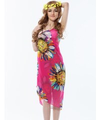 LM moda Plážové zavinovací šaty s květy růžové
