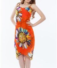 LM moda Plážové zavinovací šaty s květy oranžové
