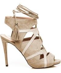WILADY Béžové módní sandály s vázaním