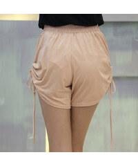 Lesara Shorts mit seitlichen Raffungen - Creme - S