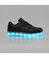 Lesara Kinder-LED-Schuh in Leder-Optik - Schwarz - 25