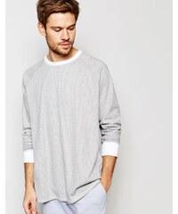 ASOS Loungewear - T-shirt oversize à manches longues et rayures - Gris - Gris