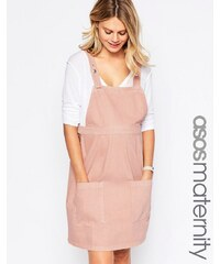ASOS Maternity - Robe chasuble en jean - Rose - Rose