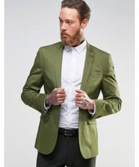 ASOS - Blazer cintré en satin de coton - Kaki clair - Vert