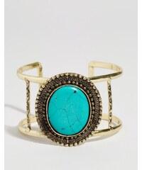 ASOS - Bracelet manchette avec pierre - Vert