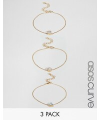 ASOS Curve - Lot de 3 bracelets style western - Multi
