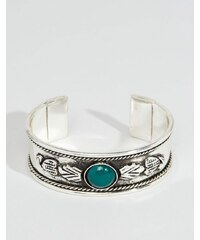 ASOS - Bracelet manchette gravé avec pierres - Vert