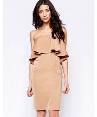 Glamorous - Bandeau-Kleid mit Rüschenlage - Braun