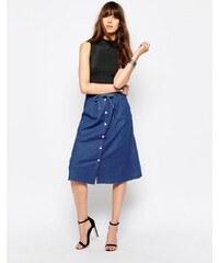 Only - Jupe mi-longue en jean - Bleu