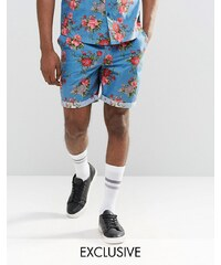 Reclaimed Vintage - Geblümte Shorts - Blau