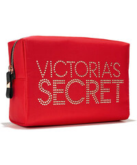 Victoria´s Secret red satin cosmetic make-up case taštička