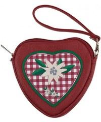 Distler Damen Handtasche Tasche Herzform rot aus Kunstleder