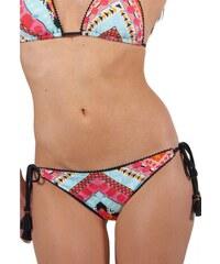 Milonga Bikini multicolore à motif azteque et petits pompons noirs AZTECA