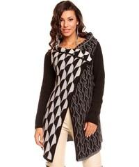 Dlouhý dámský pletený svetr / pončo Yida - černo-krémový