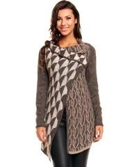 Dlouhý dámský pletený svetr / pončo Yida - hnědo-krémový