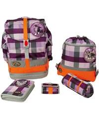 School Mood Schulranzen Set, foal & cat purple checked, 5tlg., »Fly maxi Set Katze«