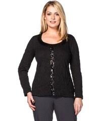 SHEEGO STYLE Damen Style Crinkleshirt mit Pailletten schwarz 40/42,44/46,48/50,52/54,56/58