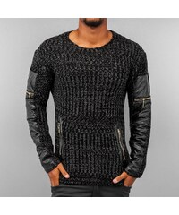Bangastic PU Knit Sweater Hoody Black