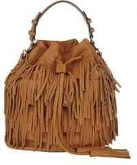Abro Sacs à Bandoulière, Velvet Fringed Bucket Bag Calf Cuoio en cognac