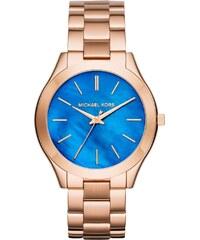 Michael Kors Montres, Slim Runway Ladies Watch Pearlescent Blue/Roseor en bleu, rose pâle