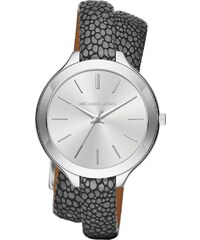 Michael Kors Montres, Slim Runway Silver-Tone and Leather Wrap Watch Anthracite en gris