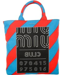 Miu Miu Sacs à Bandoulière, Shopping Bag Print Denim en rouge, bleu
