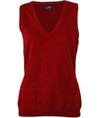 Kvalitní dámský pullover - vesta - Vínově červená XS