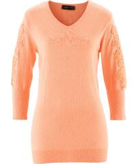 bpc selection Pull avec dentelle orange manches longues femme - bonprix