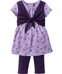 bpc bonprix collection Robe + legging 3/4 (Ens. 2 pces.), T. 80-134 violet manches 3/4 enfant - bonprix