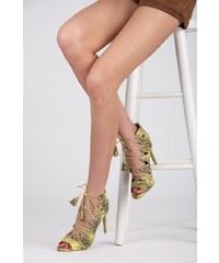 VICES Módní zelené sandály na podpatku