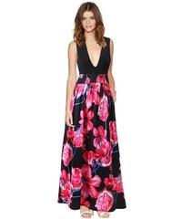 001 Dámské dlouhé šaty květované