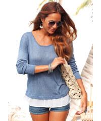 LASCANA Plážový pulovr s šifonovou vsadkou, LASC džínové modrý melír