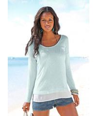 LASCANA Plážový pulovr s šifonovou vsadkou, LASC zelený melír