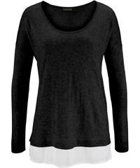LASCANA Plážový pulovr s šifonovou vsadkou, LASC černá