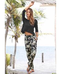 S.OLIVER Plážové kalhoty s květinovým potiskem, s černá-zelená-květy