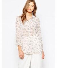 HUSH HUSH Korálová vzdušná košile s abstraktním vzorem