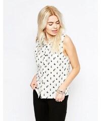 HUSH HUSH Bílá vzorovaná košile z bavlny