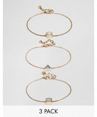 ASOS - Lot de 3 bracelets à pierres de formes variées - Multi