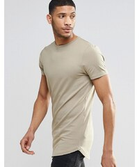ASOS - T-shirt moulant ultra long avec ourlet arrondi - Marron - Beige